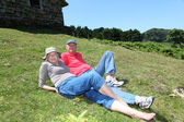 Senior couple resting in meadow on a sunny day — Stock Photo