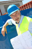 Architect standing on construction site — Stock Photo