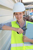 Woman engineer standing on building site — Stock Photo