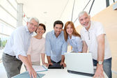 Group of happy senior in training course — Stock Photo