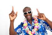 Portrait of happy funny guy with hawaiian shirt — Stock Photo