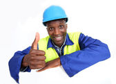 Construction worker with whiteboard isolated — Stock Photo