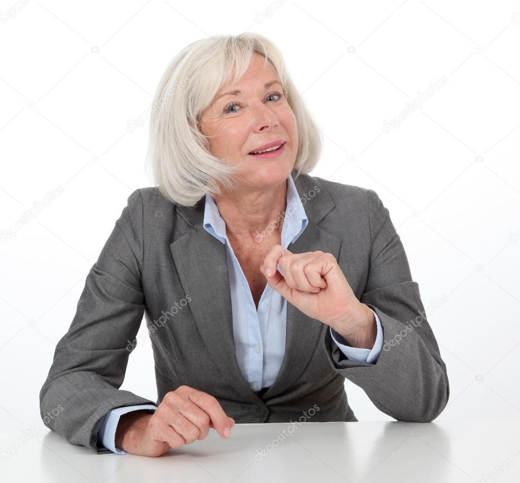 Portrait of businesswoman on white background — Stock Photo #18212619