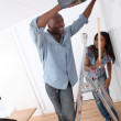Young couple renovating their new house — Stock Photo