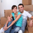 Young couple moving in new house — Stock Photo #18224435