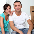 Young couple moving in new place — Stock Photo #18224547
