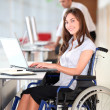 Businesswoman in wheelchair working in the office - Zdjęcie stockowe