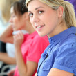 Young blond woman in business training — Foto Stock