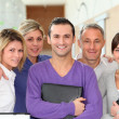 Closeup of smiling group of office workers — Stock Photo #18225957
