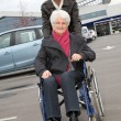 Young man assisting senior woman in wheelchair — Stock Photo #18226823