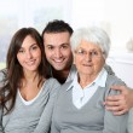 Portrait of grandmother with grandchildren — Stock Photo