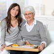 Elderly woman and home carer sitting in sofa with lunch tray — Stock Photo