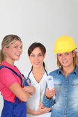 Young women on professional training — Stock Photo