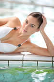Beautiful woman in thalassotherapy spa center — Stock Photo