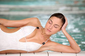 Closeup of beautiful woman in thalassotherapy and spa center — Stock Photo