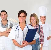 Group of young adults on business training — Stock Photo