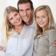 Closeup of happy family at home — Stock Photo