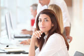 Woman attending business training — Stock Photo