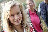 Closeup of beautiful young girl on hiking day — Stock Photo