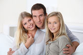 Closeup of happy family at home — Stock Photo