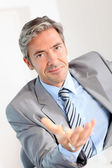 Businessman giving product advantages to client — Stock Photo