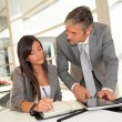 Foto de Stock  : Manager and businesswoman meeting in office