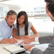 Father and girl signing loan contract — Stockfoto #18260817