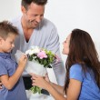 Happy family on valentine&amp;#039;s day - Stockfoto