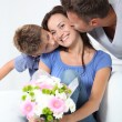 Happy family on valentine's day - Stock Photo
