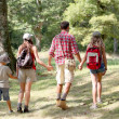 Parents and children on a hiking day — Stock Photo
