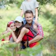 Family having fun on hiking day — Stock Photo