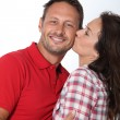 Closeup of in loved couple kissing — Stock Photo