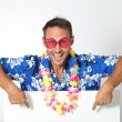 Man with hawaiian shirt - Stock Photo