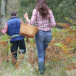 Couple in forest picking mushrooms in autumn — Stock Photo #18265007