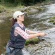 Stock Photo: Woman with fly fishing rod in river