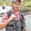 Closeup of fly-fisherman holding fishing rod in river — Stock Photo