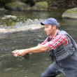 Stock Photo: Fishermin river with fly fishing line