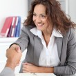 Businesswommeeting applicant in office — Stock Photo #18265587