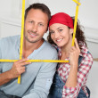 Closeup of couple buying a new house — Stock Photo
