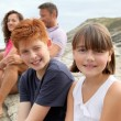 Brother and sister on vacation - Stockfoto