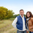 Closeup of happy couple in autumn - Stock fotografie
