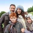 Parents and children having a walk in countryside — Stock Photo