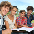 Group of teenagers studying outside the class — Stockfoto