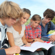 Teenagers studying outside the class — Stock Photo #18268563