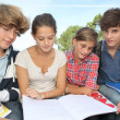 Teenagers studying outside the class — Stock Photo #18268567