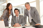 Sales team having business presentation in office — Stock Photo