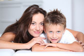 Mother and son having fun at home — Stock Photo