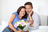 Happy in loved couple on valentine's day — Stock Photo