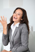 Businesswoman talking with hands — Stock Photo