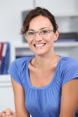 Closeup of beautiful woman with eyeglasses — Stock Photo